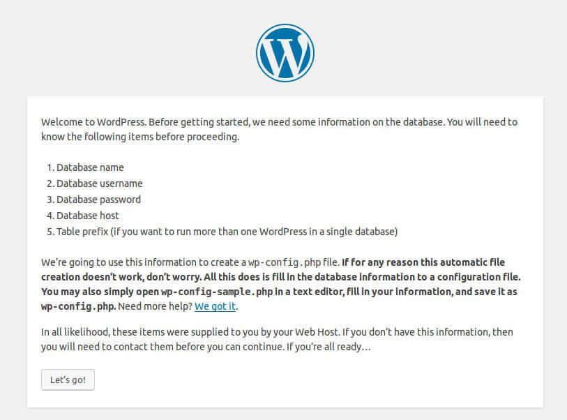 Wordpress Installation Wizard