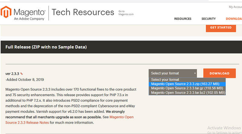 Magento CE Download Page