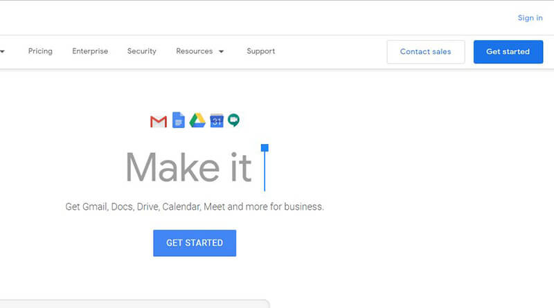 G Suite Sign Up Page